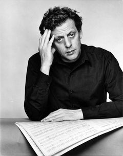 Musician/Composer Philip Glass iconic studio portrait, signed by Jack Mitchell