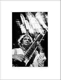 Musician & composer Ravi Shankar performing at St. John, signed exhibition print