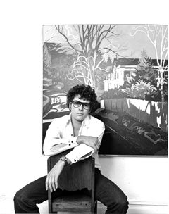 Painter Jon Carsman in his Manhattan studio, Signed by Jack Mitchell
