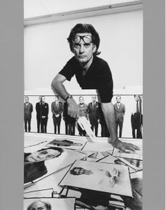 Photographer Richard Avedon planning an exhibition, signed by Jack Mitchell