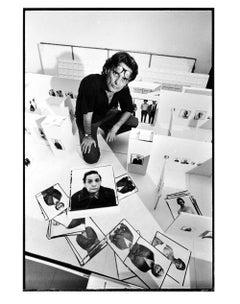 Photographer Richard Avedon planning his exhibition at the Marlborough Gallery