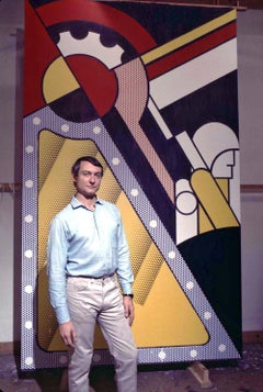 Pop artist Roy Lichtenstein in his New York studio with his newest work.