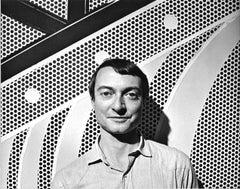 Pop artist Roy Lichtenstein in his NYC studio, signed By Jack Mitchell