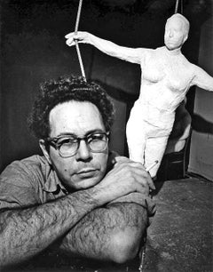 Sculptor George Segal in his New York studio, signed by Jack Mitchell