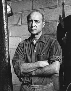 Sculptor Isamu Noguchi in his NYC studio, signed By Jack Mitchell