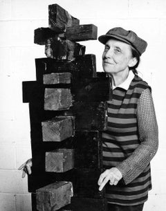 Sculptor Louise Bourgeois in her Manhattan studio, signed by Jack Mitchell