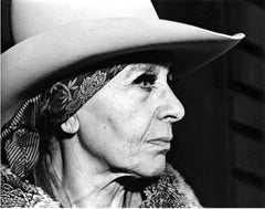 Sculptor Louise Nevelson in her Manhattan studio, signed by Jack Mitchell