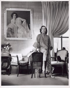 Stage and Screen Star Gloria Swanson with 'Sunset Boulevard' painting of herself