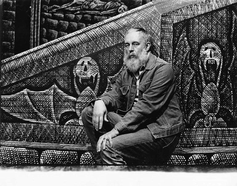 Jack Mitchell Black and White Photograph - Tony Award-winning artist Edward Gorey on his set for Broadway's 'Dracula'