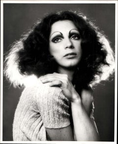 Warhol Superstar Holly Woodlawn, studio portrait retouched for publication