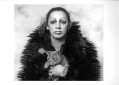 Warhol Superstar Holly Woodlawn with Jack Mitchell's studio cat 'Nik'