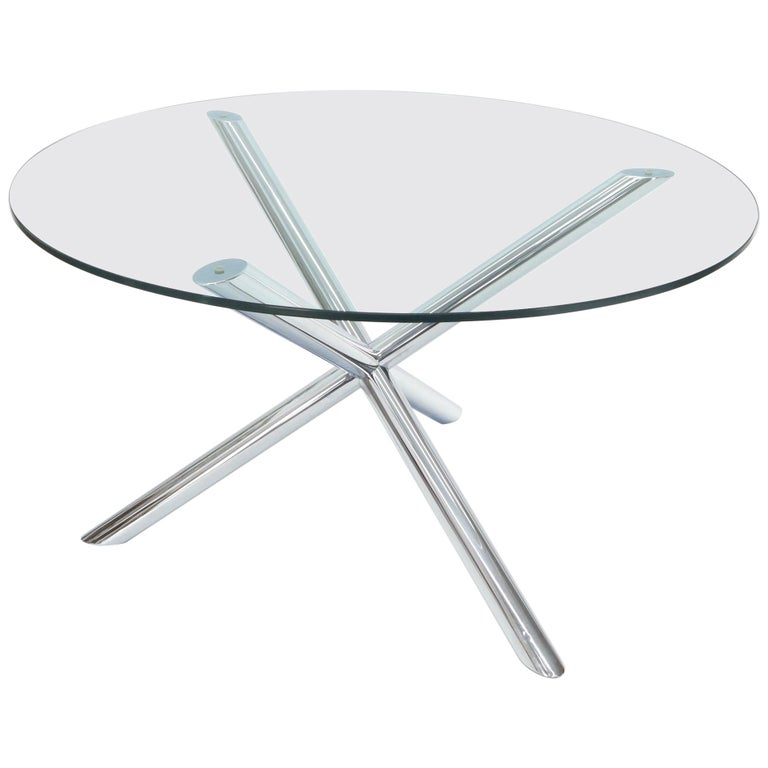 Jack Shape Large Round Glass Top Dining Table For Sale