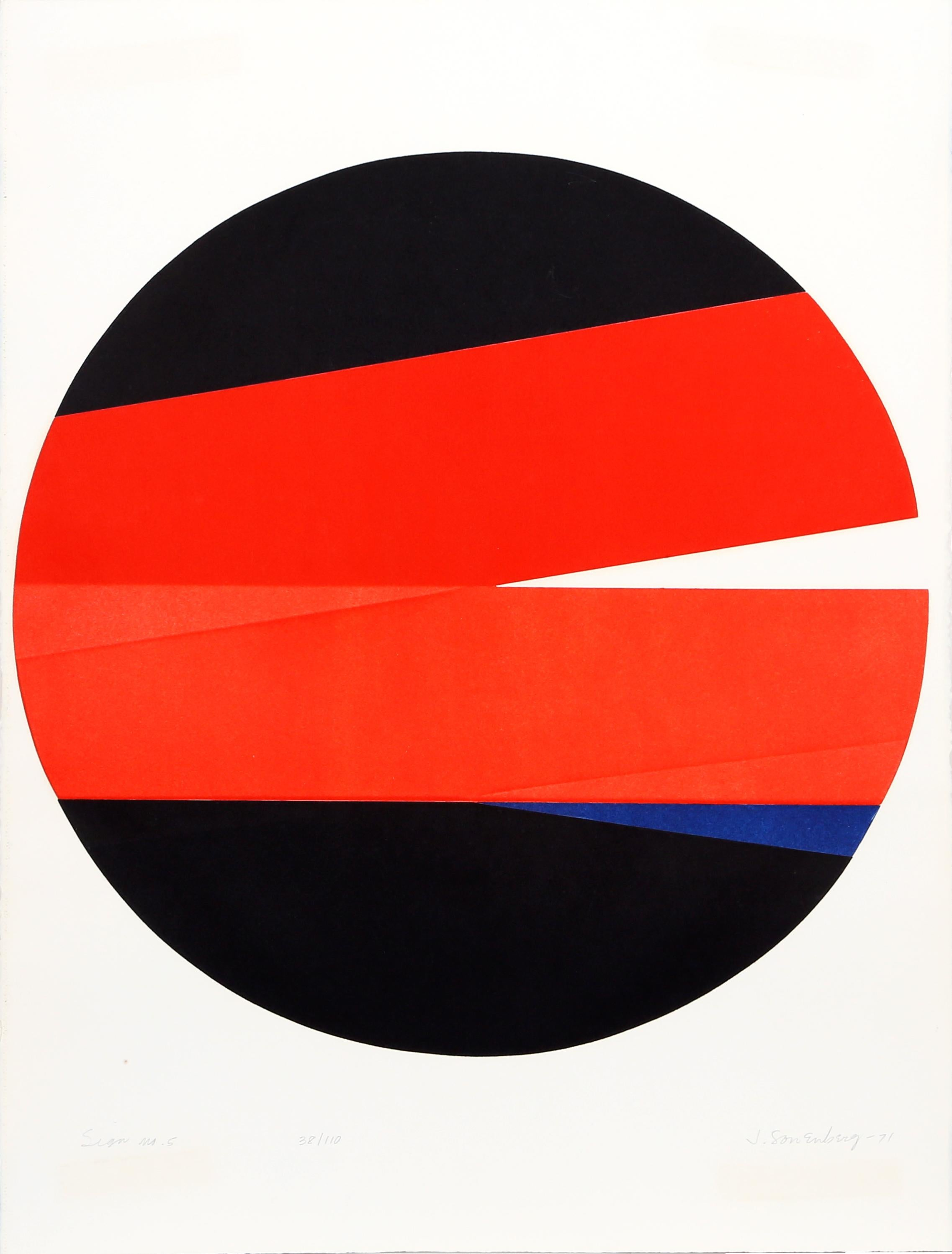 Sign No. 5, Geometric Abstract Etching by Jack Sonenberg