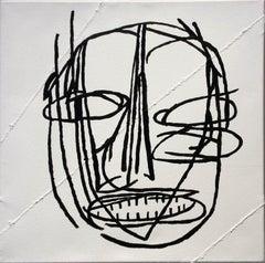 Claude (Basquiat Style Black & White Primitive Portrait on Stitched Canvas)