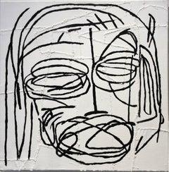 Cochise (Basquiat Style Black & White Primitive Portrait on Stitched Canvas)