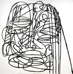 Colossus (Basquiat Style Black & White Contemporary Portrait on Stitched Canvas)