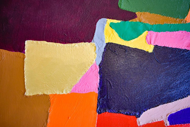 Meredith's Walk (Red, Blue, Yellow & Pink Abstract on Hand Stitched Canvas) - Painting by Jack Walls
