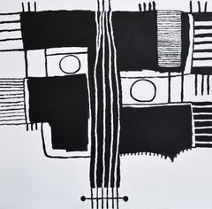 Oskar Micheaux (Basquiat Style Black & White Abstract Contemporary Portrait)