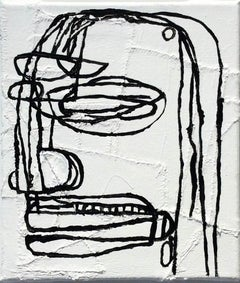 Ovid (Basquiat Style Black & White Contemporary Portrait on Stitched Canvas)