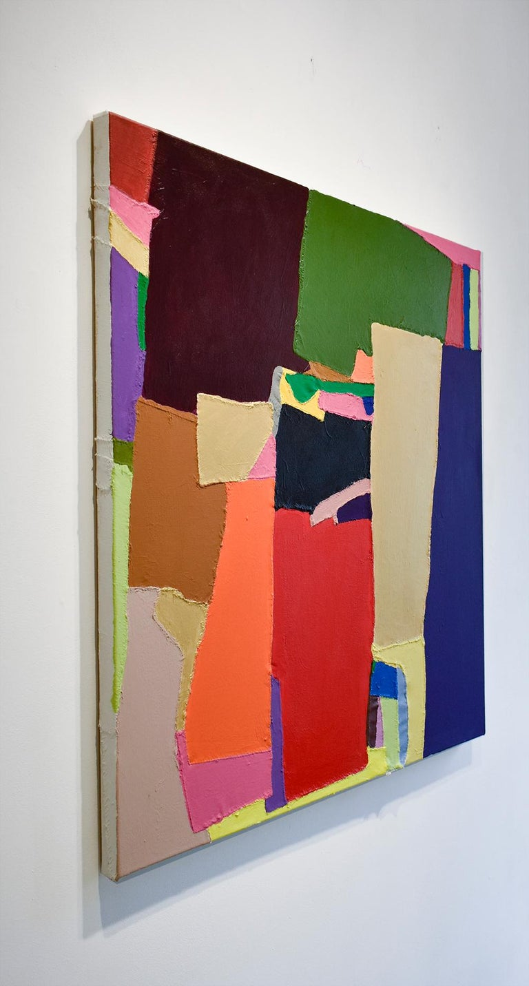 Rumpelstiltskin: Red, Blue, Yellow, Green, Pink Abstract on Hand Stitched Canvas - Painting by Jack Walls