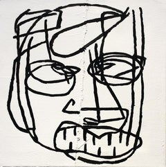 Ulysses (Basquiat Style Black & White Primitive Portrait on Stitched Canvas)