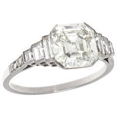 Jack Weir and Sons GIA 2.03 Carat Emerald Cut Diamond Platinum Engagement Ring