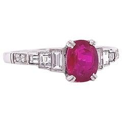 1.16 Carat GIA Burma Ruby Diamond Platinum Engagement Ring