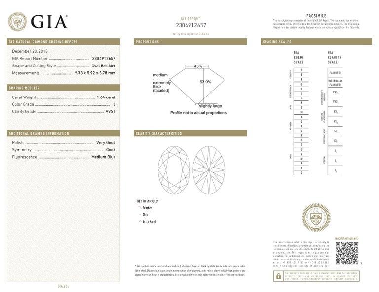 1.64 Carat Oval Brilliant Cut Diamond Platinum Ring For Sale 1