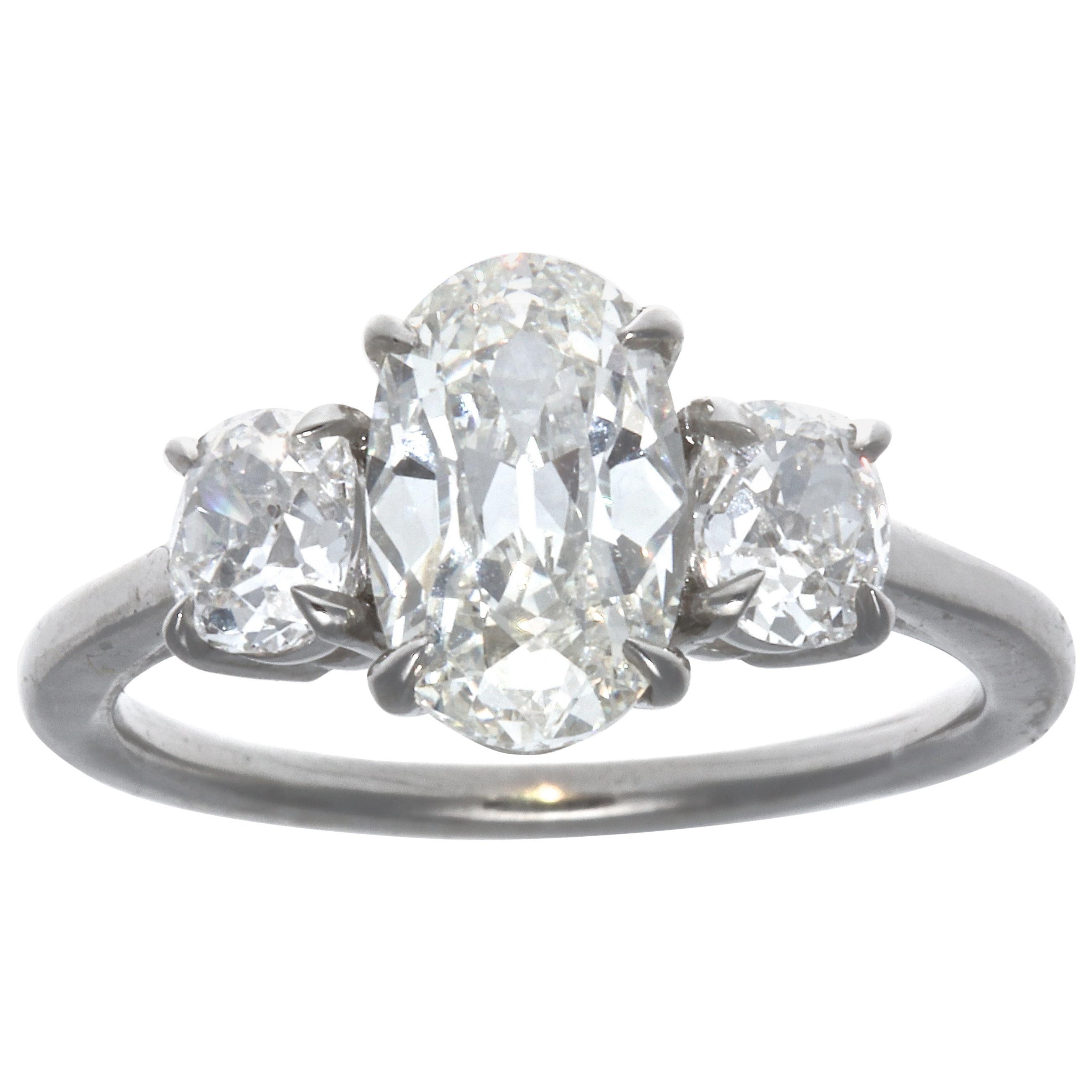 1.64 Carat Oval Brilliant Cut Diamond Platinum Ring