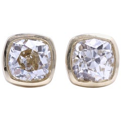 2.31 Carat Old Mine Cut 18 Karat Gold Stud Earrings