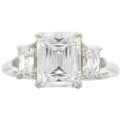 Jack Weir & Sons 2.65 Carat GIA Crisscut Diamond Platinum Three-Stone Ring