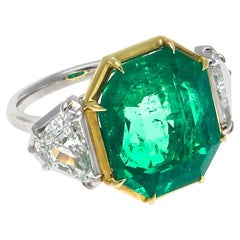 Jack Weir & Sons AGL 10.03 Colombian Emerald Diamond Platinum Gold Ring