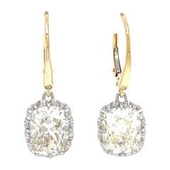 Antique Inspired Antique Cushion Diamond Drop Earrings