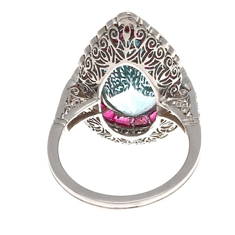 Women's Jack Weir & Sons Art Deco Revival Aquamarine Ruby Diamond Platinum Ring For Sale
