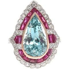 Jack Weir & Sons Art Deco Revival Aquamarine Ruby Diamond Platinum Ring