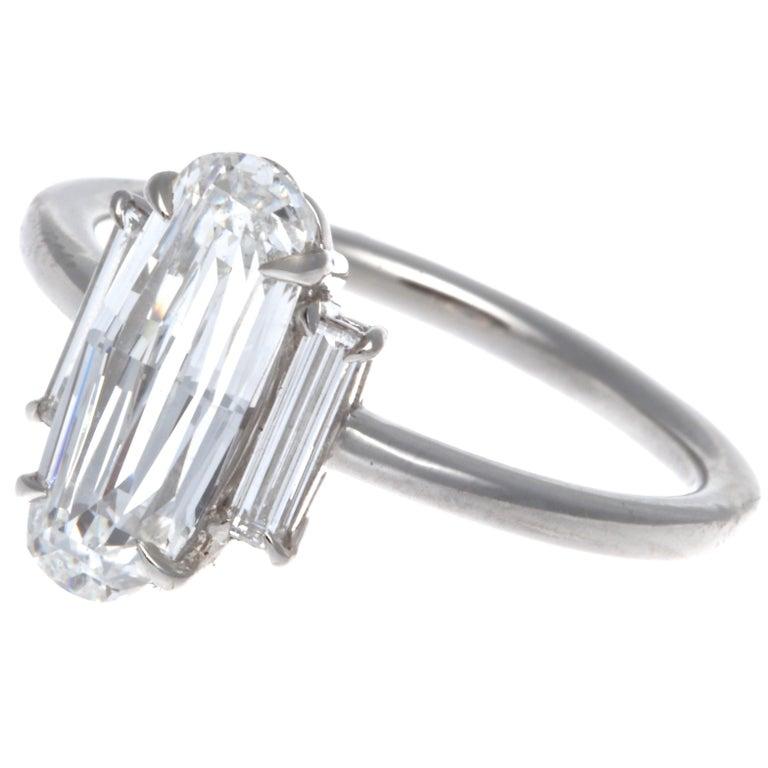Oval Cut GIA 1.59 Carat Old Step Cut Diamond Platinum Ring