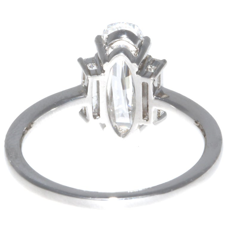 GIA 1.59 Carat Old Step Cut Diamond Platinum Ring In New Condition In Beverly Hills, CA