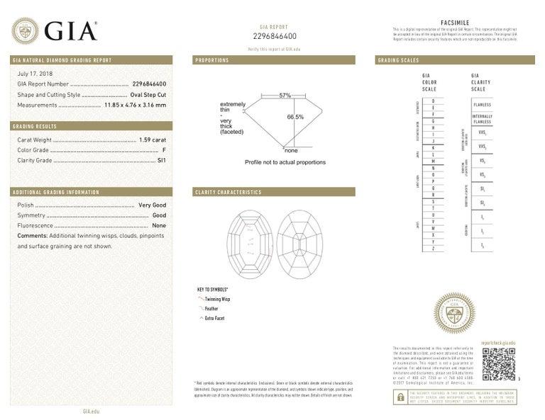 Women's GIA 1.59 Carat Old Step Cut Diamond Platinum Ring