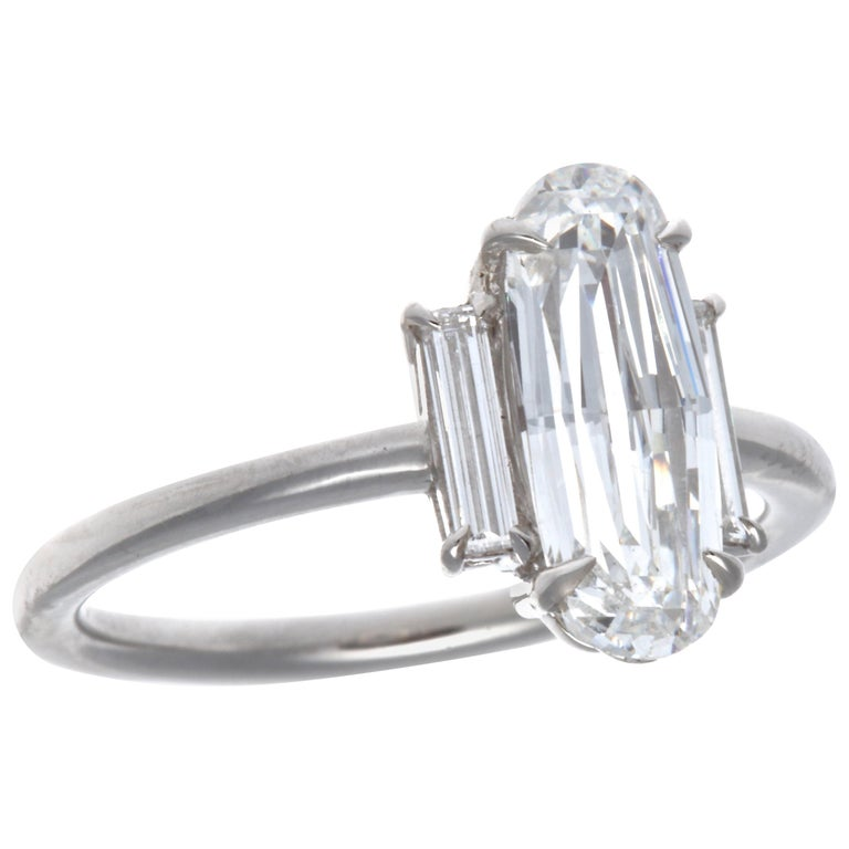 GIA 1.59 Carat Old Step Cut Diamond Platinum Ring