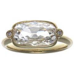 GIA 2.03 Carat Old Cushion Cut Diamond 18 Karat Ring