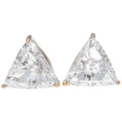 Jack Weir & Sons GIA 4.46 Carat Trillion Cut Diamond Gold Earrings