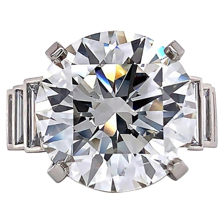 Jack Weir & Sons GIA Certified 12.23 Carat Diamond Platinum Engagement Ring For Sale