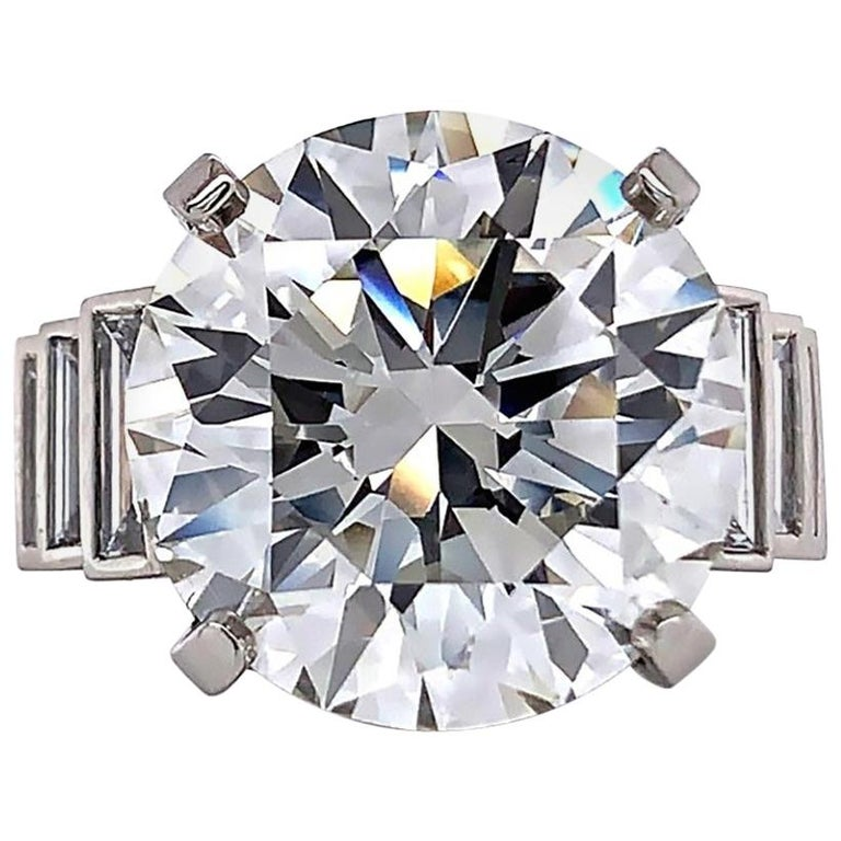 Jack Weir & Sons GIA Certified 12+ Carat Diamond Platinum Engagement Ring For Sale