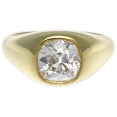 GIA Certified 2.02 Carat Cushion Cut Diamond 18 Karat Gold Ring