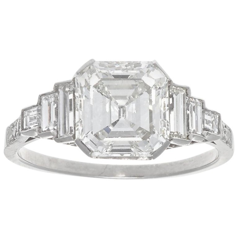 Jack Weir & Sons GIA Certified 2.02 Carat Emerald Cut Diamond Platinum Ring For Sale