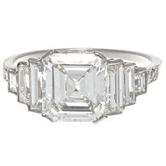 Jack Weir & Sons GIA Certified 2.02 Carat Emerald Cut Diamond Platinum Ring