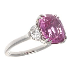 Jack Weir & Sons GIA Certified Natural Pink Sapphire Diamond Platinum Ring