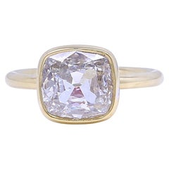 GIA Old Mine Cut 3.01 Carat Gold Ring