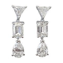 Jack Weir & Sons Modern Approximately 4.49 Carat Diamond Gold Drop Earrings