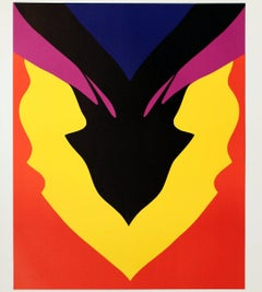 1971 Jack Youngerman 'At Pace, Columbus' Pop Art Red,Yellow,Black,Orange